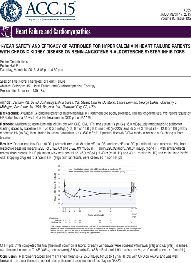 1 Year Safety And Efficacy Of Patiromer For Hyperkalemia In Heart Failure Patients With Chronic Kidney Disease On Renin Angiotensin Aldosterone System Inhibitors Journal Of The American College Of Cardiology