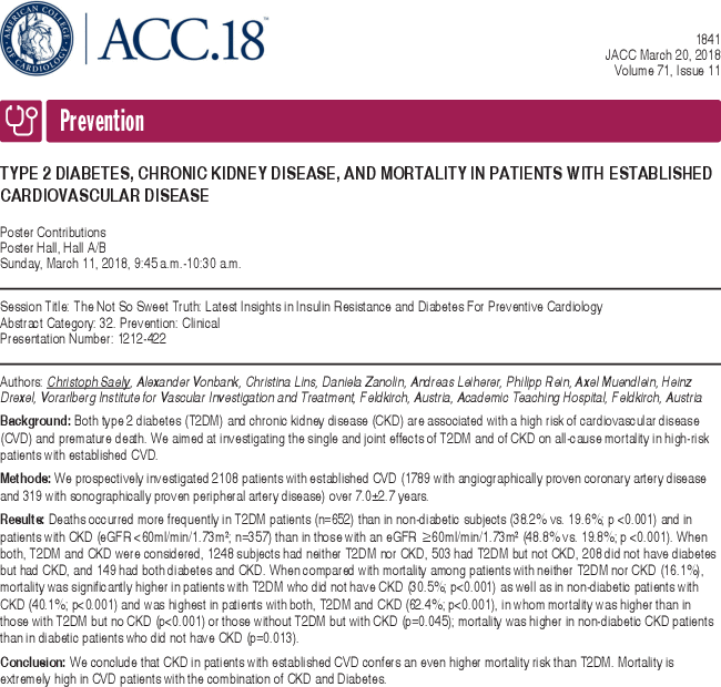 Type 2 Diabetes Chronic Kidney Disease And Mortality In Patients With Established Cardiovascular Disease Journal Of The American College Of Cardiology